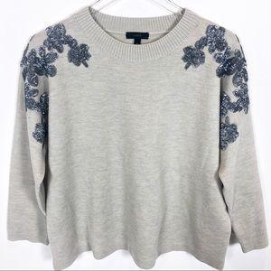 J. Crew Floral Sequin Sweater Merino Wool